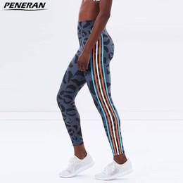 Wholesale Women Athletic Clothing - PENERAN Sport Fitness Clothes Women Yoga Pants High Waist Gym Leggins Female Elastic Running Tights Lady Stripe Athletic Legging