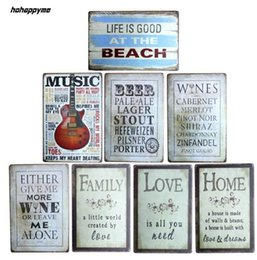 Wholesale movie tin signs wholesale - New arrival LOVE Guitar Tin Plate Signs Movie Poster Art Cafe Bar Vintage Metal Painting Wall Stickers Home Decor 20X30 CM