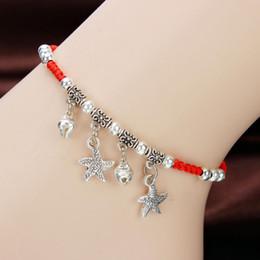 Cheville de poisson en Ligne-Fil rouge corde tressé étoiles papillon bracelets de cheville pour les femmes poisson pied brin Bracelet fil rouge avec breloques cheville bijoux ethniques