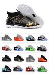 Wholesale Crampons Shoe Spikes - 2018 Mens Trainers Soccer Shoes Cleats Socks High Top ACE Tango 17+ Purecontrol Pure Control 17.1 17 Crampons Indoor TF IN Football Boots