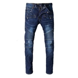 rock lights Promo Codes - balmain Men Distressed Ripped Jeans Fashion Designer Straight Motorcycle Biker Jeans Causal Denim Pants Streetwear Style Runway Rock Star