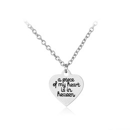 Wholesale Statement Pieces Wholesale - New statement necklaces a Piece of My Heart Is In Heaven necklace Letter heart pendant necklace