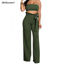 993fe0525b8a5c Women Sexy Two Piece Set Strapless Bandeau Crop Top And Long Pants 2 Piece  Set Solid Ruffles Wide Leg Trousers Women Outfit