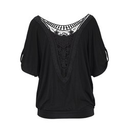 T-shirt immagini online-T-Shirt da donna con scollo a O Image Splicing Hollow -T-shirt con colletto in pizzo facile da aggiungere T-Shirt con maniche Moda Donna Nuovo