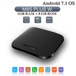 8-гигабитный медиаплеер Скидка M8S Plus W Android 7.1 Smart TV BOX Amlogic Quad core 1 ГБ 8 ГБ медиаплеер 4K Mini PC ULTRA Set top box