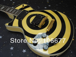 Wholesale Zakk Wylde Emg - Free Shipping Hot Selling +Top Quality Les Custom Zakk Wylde EMG Pickups Left Handed Yellow Electric Guitar