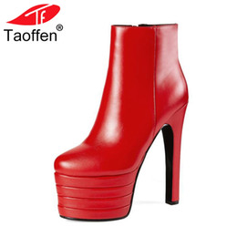 Taoffen New 2018 Winter Genuine Leather Sexy High Heels 15cm Round Toe  Platform Red Black Ankle Boots Shoes For Women Size 33-40 cb420fe7ccdc