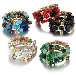 Wholesale crystal wrap bracelets - Crystal Agate Stone Multilayer Wrap Bracelet Bangle Cuffs Fashion Jewelry for Women Kids Drop Ship 320073