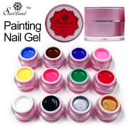 dedo pinta prego Desconto Pintura Gel de Pura Cores Puras UV LED Prego Pintura Gel Cor para Dedo Nail Art Design Unhas de Gel Laca Polonês