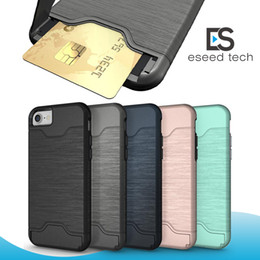 Wholesale Hard Cards - Card Slot Case For Samsung s9 plus iPhone X 8 Armor case hard shell back cover with kickstand case for iphone 6 6 plus 7 7 plus
