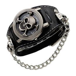 2019 черные кожаные наручные часы Обложка стереоскопический полый Black Punk Rock Chain Череп Скелет Часы Мужчины Женщины Браслет-манжета Готические наручные часы Модные кожаные наручные часы дешево черные кожаные наручные часы