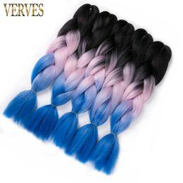Черный розовый синий рейдерство волосы ombre два тона высокая температура волокна выражение плетение волос 100 г/шт синтетические плетение наращивание волос от
