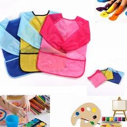 Canada 3 poches peinture tablier imperméable à l'eau bébé fille garçon à manches longues bavoirs burp tissu nourrir l'enfant enfants dessin peinture tablier AAA1139 Offre