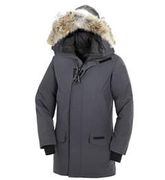 Deutschland Neue Marke MANASEAMON Top Qualität Männer Wintermantel Langford Parka Gänsedaunen Feder Jacke Mantel Große Coyote Pelzkragen Versorgung
