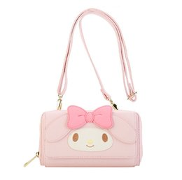 Borse a tracolla sveglie online-Carino My Melody Pink PU Messenger Bag in pelle Mini piccole borse Crossbody per donne Ragazze tracolla Sling Bag Coin Purse Wallet