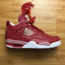 Wholesale Box Studios - New 400ML Studio X The Remade Air Retro 4 Chinese New Year Authentic Sneakers With Chinese Knot Original Box Basketball Shoes Real Leather
