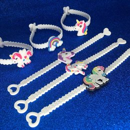 Wholesale Easter Baby Gifts - Children Charm Unique Unicorn Bracelets Girls Boys Birthday Party bag fillers Kids Baby Silicone Wristband Child Toy drop ship 320043