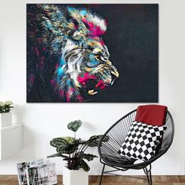 arte da lona do leão Desconto Lona HD Imprime Pinturas Sala de estar Arte Da Parede 1 Peça / Pcs Cor Cabeça de Leão Fotos Animal Poster Abstrata Home Decor Quadro