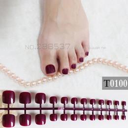 Pregos acrílicos doces on-line-24 Pcs Artificial Doces Unhas Etiqueta Acrílico Natural Falso Toe Nails Dicas Art Decor Toenails T0100 roxo escuro