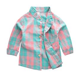 linen gauze UK - C03201803232225 Spring 2018 new arrivals children's wear children's plaid cotton and linen double-layer gauze breathable long-sleeve shirt