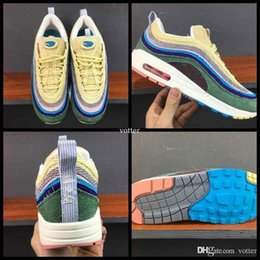 Wholesale Vivid Canvas - 2018 Fashion 97 Sean Wotherspoon X Men Women Running Shoes Mens 97s 97 1 Vivid Sulfur Multi Yellow Blue Hybrid Sports Sneakers 36-44