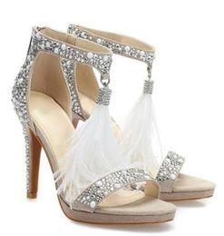 Real Photo Crystal Embellished T bar Sandals For Women White Feather Fringe Wedding High Heel Shoes Shining Rhinestone Sandal