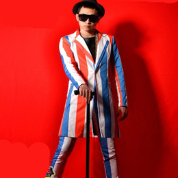 6ad9cdd31f Red white blue striped men suit male singer dancer star nightclub bar stage  show DJ DS prom costumes long jacket coat pants trousers sets