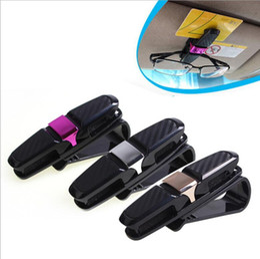 Wholesale Clips For Sunglasses - Double Sunglasses Glasses Holder Clip hook for car Sun Visor with Ticket Card Clip eyeglasses hanger YYA1287