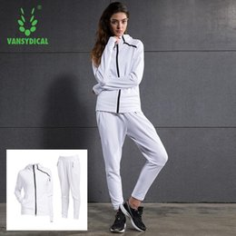 Wholesale Womens Xxl Clothing - Womens Trainning & Exercise Sets Jacket Hoodies and Pants Outdoor Sport Clothing Windproof Thermal Sportswear Size XXL