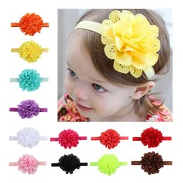 Wholesale orange hair flowers - Newborn baby headbands Hairbands mesh hair band openwork mesh elastic band Tousheng lace flower high quality 12 colour 6 g