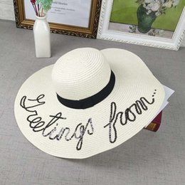 Sun Hats Fashion Letter Straw Hat Summer Travel Beach Sunscreen Cap Ladies  Casual UV Protection Caps Free Shipping Sale 0952a8026513