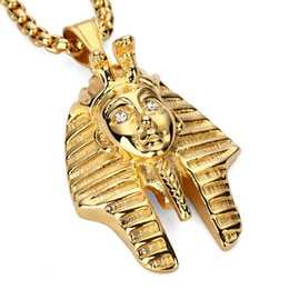 Wholesale pharaoh chain - 2018 Fashion Vintage Classic Egyptian Pharaoh Head Stainless Steel Gold Silver Pendant Necklace For Men Women Hip Hop Jewelry