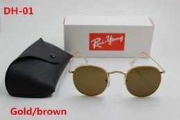 Wholesale Designer Sunglasses Ray Brand - High quality AAA+ fashion round sunglasses female designer ray Yang brand sun glasses metal frame brown 50mm glass lens black case.
