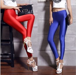 Wholesale Leggings Neon - shiny spandex leggings women's black red lycra polyester women leggings colors neon spandex high waist stretch skinny