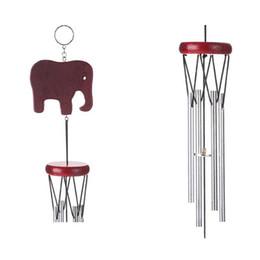 Wholesale garden bells - Wooden Elephant Shape Windbell Outdoor Living Yard Garden Decor Hanging Aeolian Bells Practical Cute Wind Chime New Arrival 5 8bz X