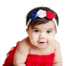 Capelli rosa baby hairbands online-Nuovo arrivo USA Independence Day Cute Girl 3pcs Rosa di capelli del fiore arco neonate di Bowknot fasce elastiche hairbands bambini Fiore Headwear A11