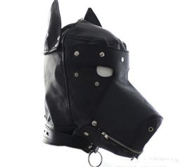 Argentina 30pcs máscara de la mascarada de cuero Gimp perro cachorro capucha máscara completa boca mordaza del partido del partido de la máscara con cremallera Muzzel Cosplay C159 supplier zipped hood mask Suministro