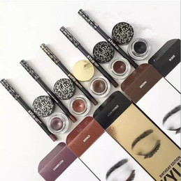 Wholesale White Liquid Liner - Kylie Jenner Cosmetics Gel Eyeliner + Liquid Eye Liner Pencil+ Eyeshadow Brush 3 in 1 Makeup Set