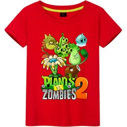 vs shirt Promo Codes - Plants Vs Zombies Cotton Boys T-shirts 2018 New Summer Style Children Clothing Kids Clothing Tops New Fashion Bicycle Pattern Boys T Shirts