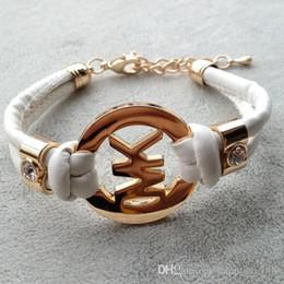 Wholesale Choose Wedding Colors - hot sale MK Bracelets PU rope Retro bracelet 12 colors to choose