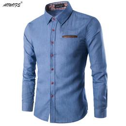 Wholesale Male Leather Shirts - 2017 New Fashion Brand Men Shirt Pocket Fight Leather Dress Shirt Long Sleeve Slim Fit Camisa Masculina Casual Male Shirts Model