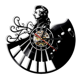 Wholesale modern art music - Piano Music Mozart Vinyl Creative Wall Clock Modern Home Decor Personality Office Wall Art Clock (Size: 12 inches, Color: Black)