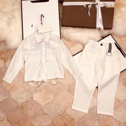 Wholesale Kids White Suspenders - 2pcs Toddler Kids Clothing Set Baby Boys Gentlemen Bowknot Shirt + Suspender Pants Outfit Boys Fashion Clothes