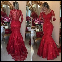 Wholesale online women shirts - 2018 Red Evening Dresses Lace Mermaid Evening Gowns With Long Sleeve V Neck Beaded Floor Length Zipper Back Women Formal Dress Online