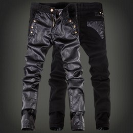 Wholesale 32 Leather Pants - Wholesale- Fashion cool rock leather pants men with jean Black color Patchwork Plus size 30 31 32 33 34 36 Skinny tight Punk trousers