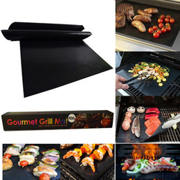 Wholesale Charcoal Electric - Grill Mats Reusable Easy to Clean 33*40cm BBQ Barbecue Grill Pad Mats Works With Gas Electric Charcoal Grills with Retail Box