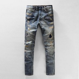 Wholesale force lights - 2018 High Quality JEANS BRAND SRPING BIKER DENIM SKINNY THE PATCH ELASTIC FORCE JEANS STREET FASHION BROKEN HOLE JEANS