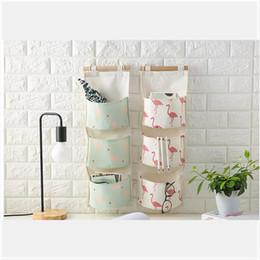 Wholesale Hanging Door Pocket Organizer - 3 Pocket Hanging Bag Animal Flamingo Sundries Organizer Waterproof Behind Door Hanging Storage Bag Holder Organizer