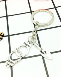 Wholesale Handcuffs Metal - New Hot Ancient Silver Police Handcuffs&Shovels Charm Pendant Keyring Keychain Fashion Men Women Jewelry Best Friends Holiday Gifts