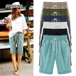 Wholesale ladies half pants - JTCWEAR Summer Plus Size Woman Half Pants Middle Pant Elastic Pocket Lace up Fifth Calf Length Big Size Lady Trousers Capris 255